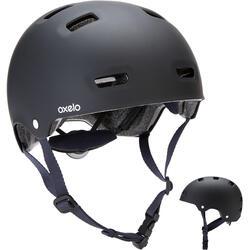 Helm voor inlineskaten skateboarden steppen MF500 zwart/blauw