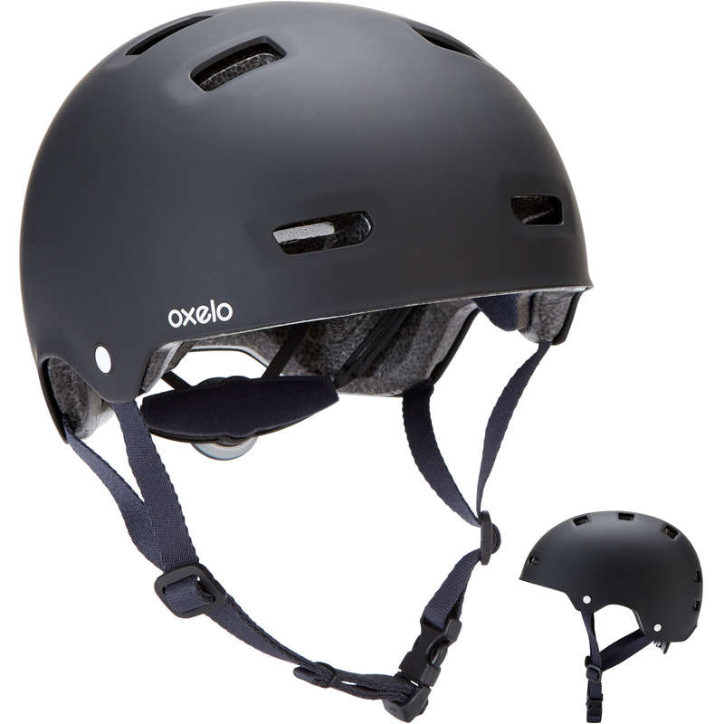 HELMET INLINE SKATE/SKATE/SCOOTER Skateboarding and Longboarding - Helmet MF500 - Black/Blue OXELO - Skateboarding and Longboarding