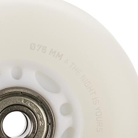 Set of 2 Light-Up 76mm 82A Inline Skate Wheels + Bearings - White/Blue Light