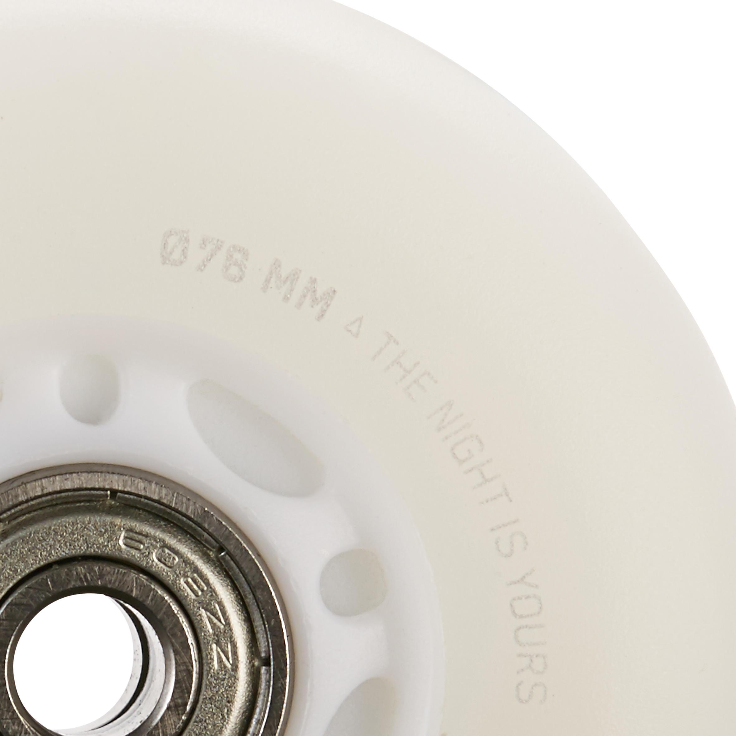 Ens. 2 ROUES LUMINEUSES patins roues alignées 76MM 82A blanches lumière bleue