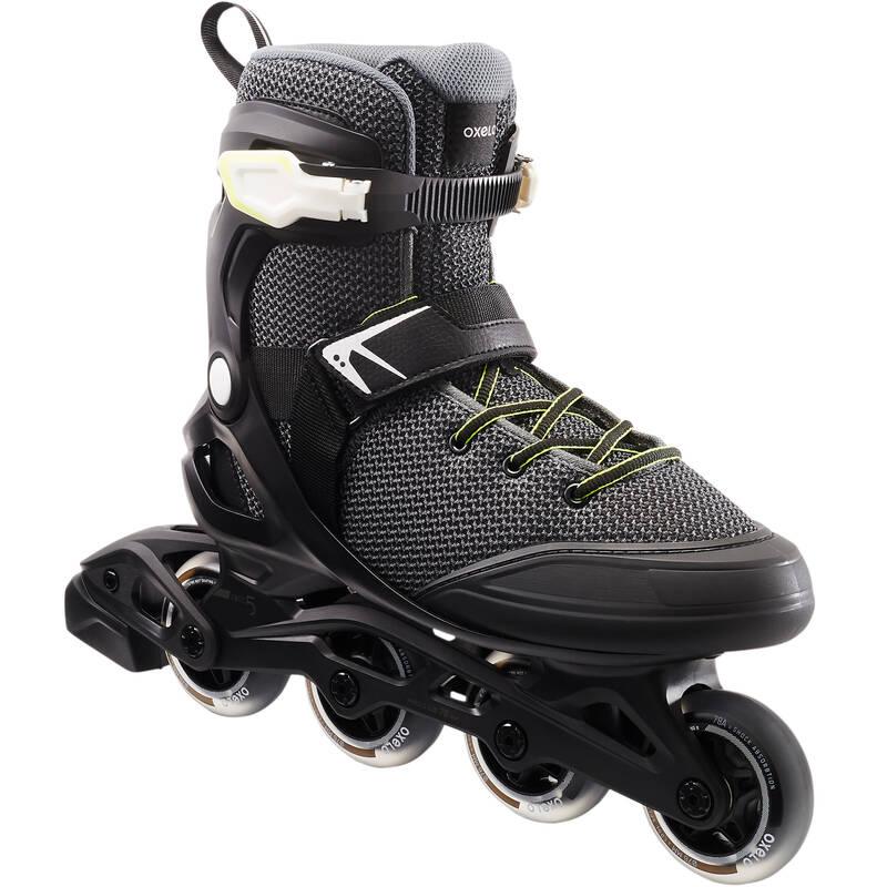 Pánske fitness kolieskové korčule FIT100 čierno-sivé OXELO