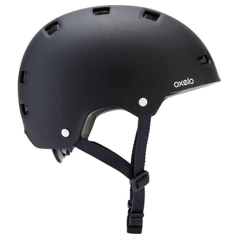 Casque roller skateboard trottinette MF500 noir bleu