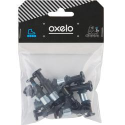 Set 8+2 schroeven, 8 spacers, 16 outer-spacers plastic onderstel skeeler 8 mm