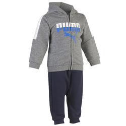 Molton joggingpak voor jongens peutergym grijs/blauw