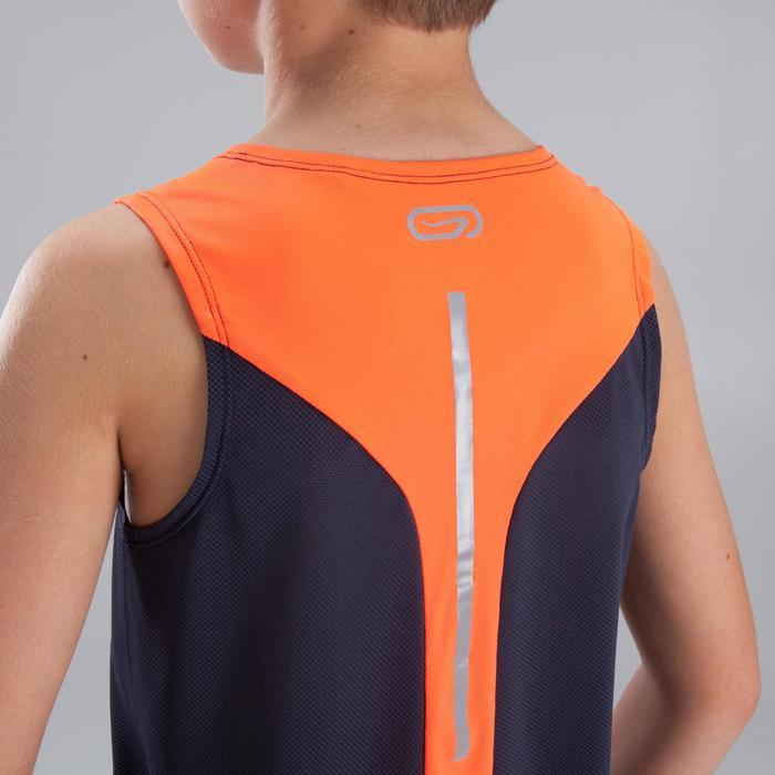 Débardeur Athlétisme garçon imprimé gris orange fluo