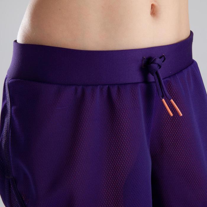 Short Athlétisme fille kiprun violet corail fluo