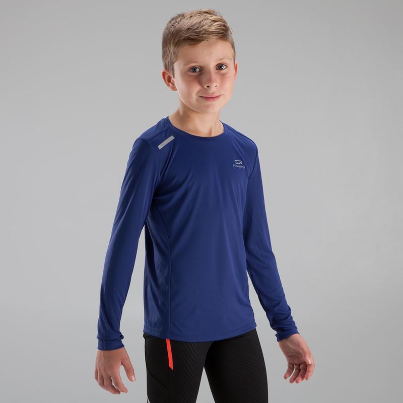 Sun Protect children's athletics long-sleeved T-shirt dark blue
