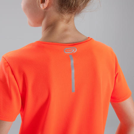 Run Dry children's athletics T-shirt neon red