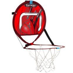 Canasta de baloncesto transportable con balón para niños y adultos HOOP 100 rojo