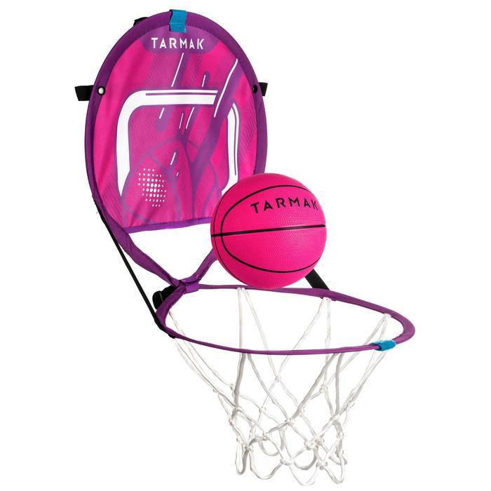 Draagbare basketbalring met bal voor kinderen en volwassenen Hoop 100 roze