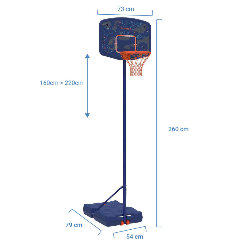 B200 Easy Kids' Basketball Basket - Space Blue1.6m-2.2m. Up to 10 years.