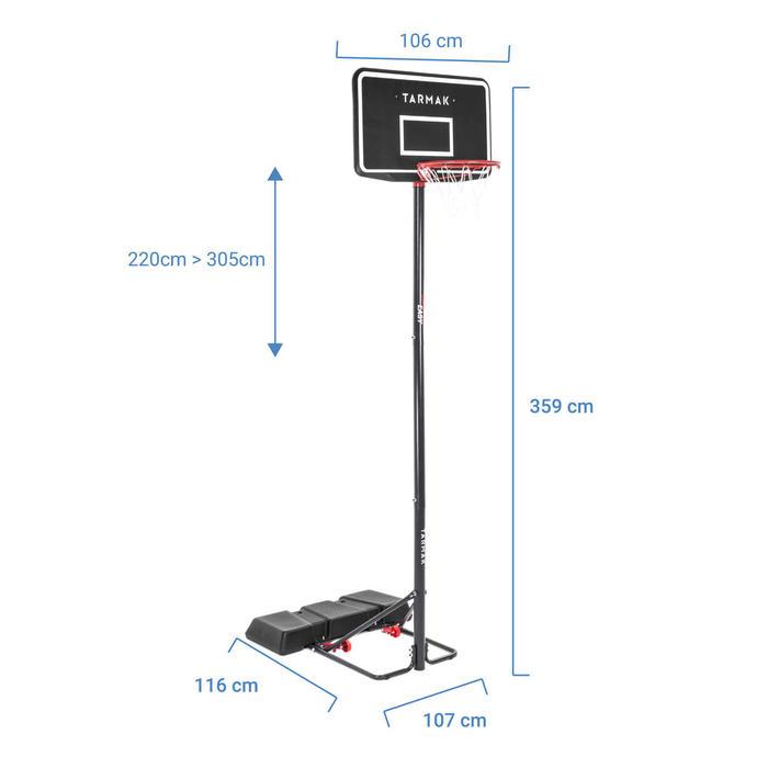Basketbalpaal kinderen/volwassenen B100 Easy Zo verstelbaar van 2,20 tot 3,05 m.