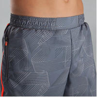 Children's baggy track shorts light grey neon red