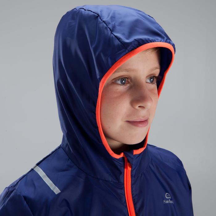 Lauf-Windjacke Kinder blau/neonrot
