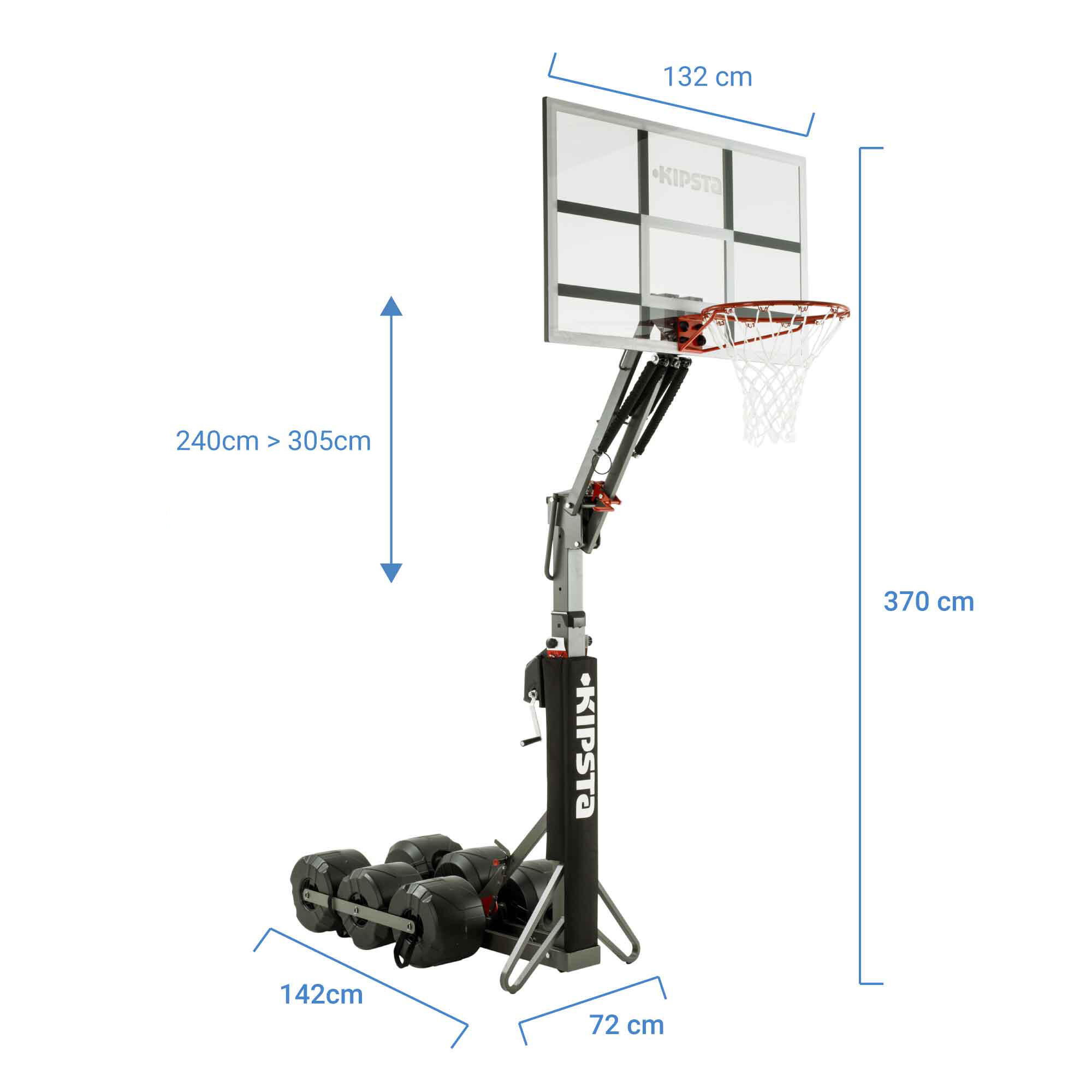B900 Kids'/Adults' Basketball Hoop 2.4m to 3.05m.Sets up and stores in 2 minutes