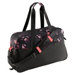 Tas voor cardiofitness 30 liter print zwart/roze/paars