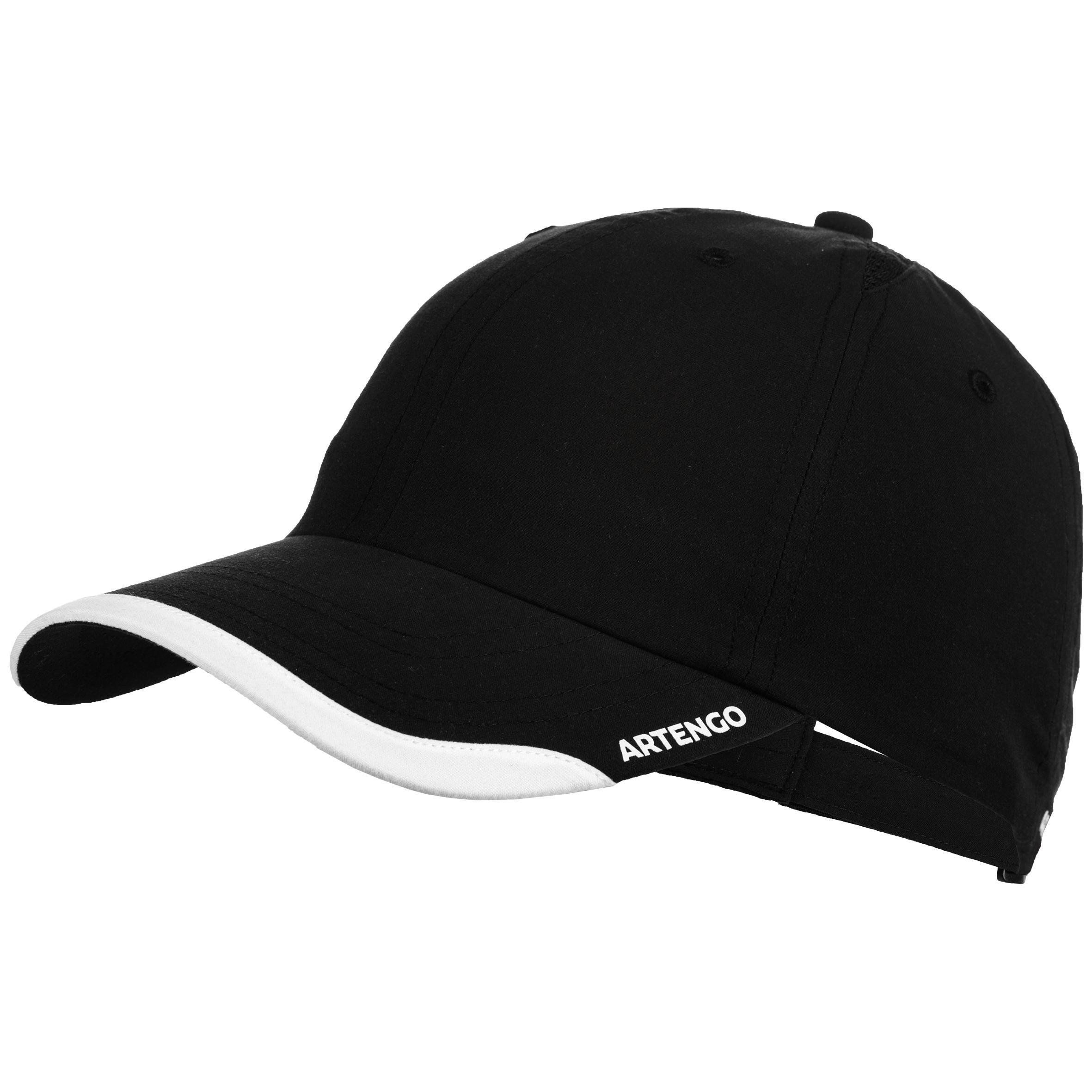 Tennis-Kappe Schirmmütze flexibel Racketsport TC 100 schwarz   Accessoires > Mützen > Sonstige Mützen   Schwarz - Weiß   Artengo