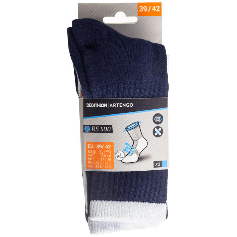 RS 500 High Sports Socks Tri-Pack - Navy/White