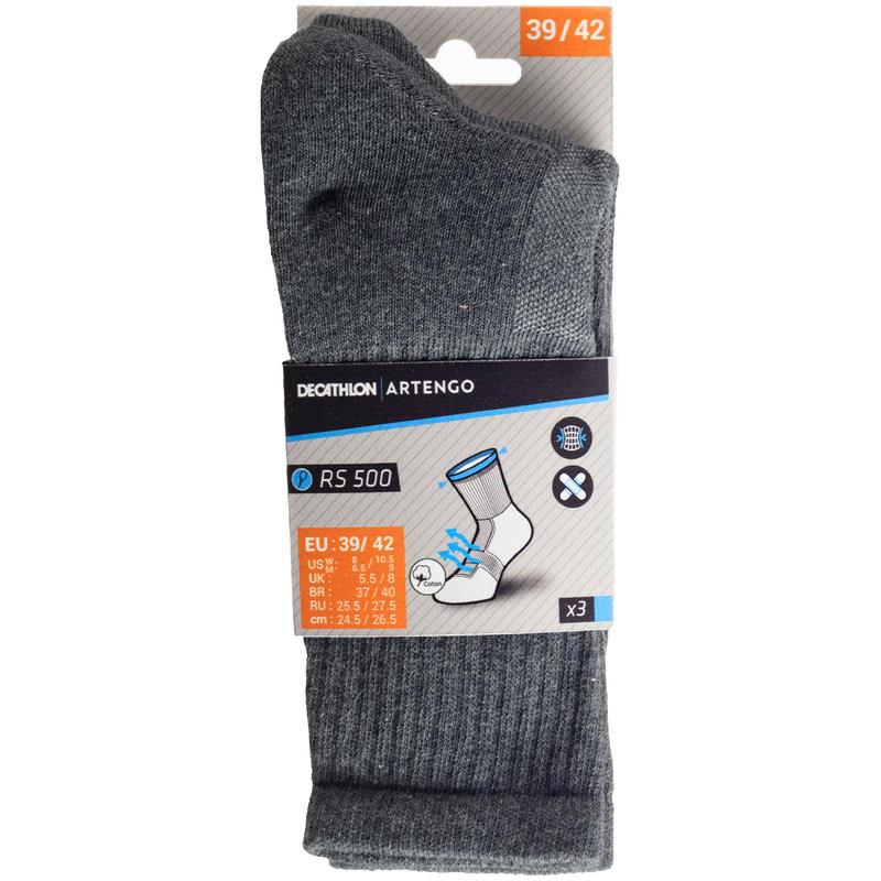 High Tennis Socks RS 500 Tri-Pack - Grey