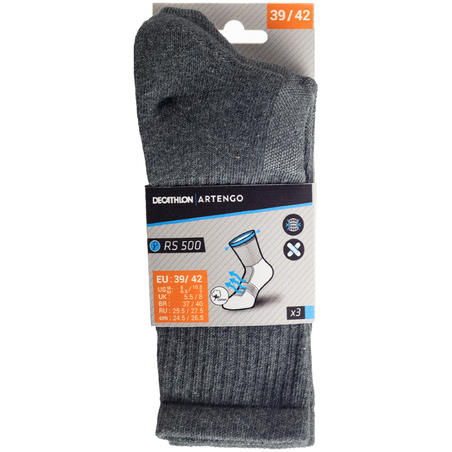 RS 500 High-Cut Sports Socks Tri-Pack - Grey