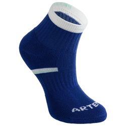 兒童款中筒運動襪 RS 500(3雙入)-藍色/白色