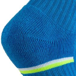 Halfhoge sportsokken voor kinderen Artengo RS 500 blauw wit geel 3 paar