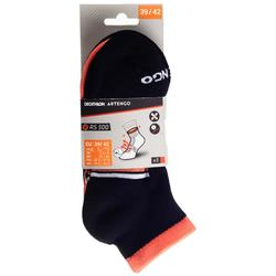 3雙入中筒運動襪RS 500–黑色/珊瑚紅