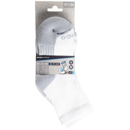 Дитячі високі шкарпетки 500 для тенісу, 3 пари - Білі