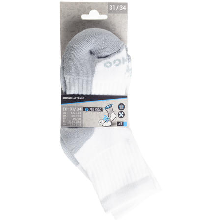 Vaikiškos ilgos teniso kojinės RS 500, pakuotėje 3 vienetai