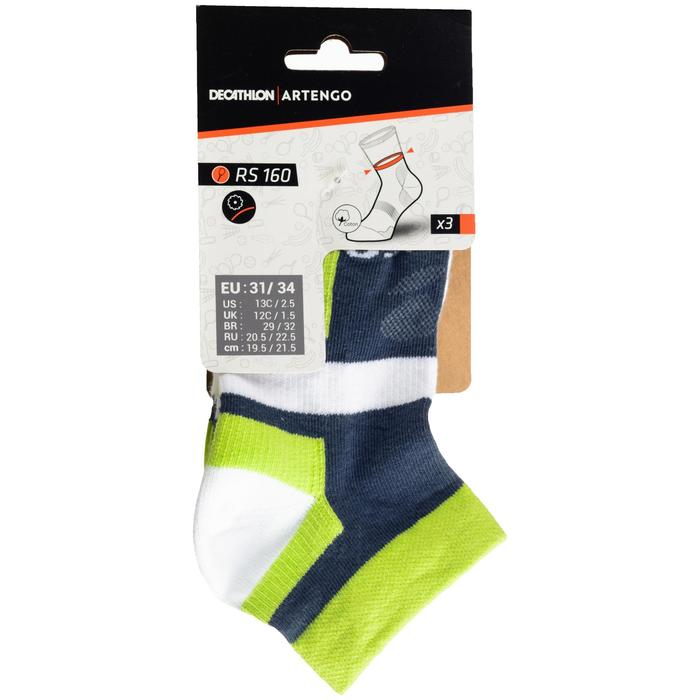 RS 160 Kids' Mid-Cut Sport Socks Tri-Pack - Grey/White/Yellow