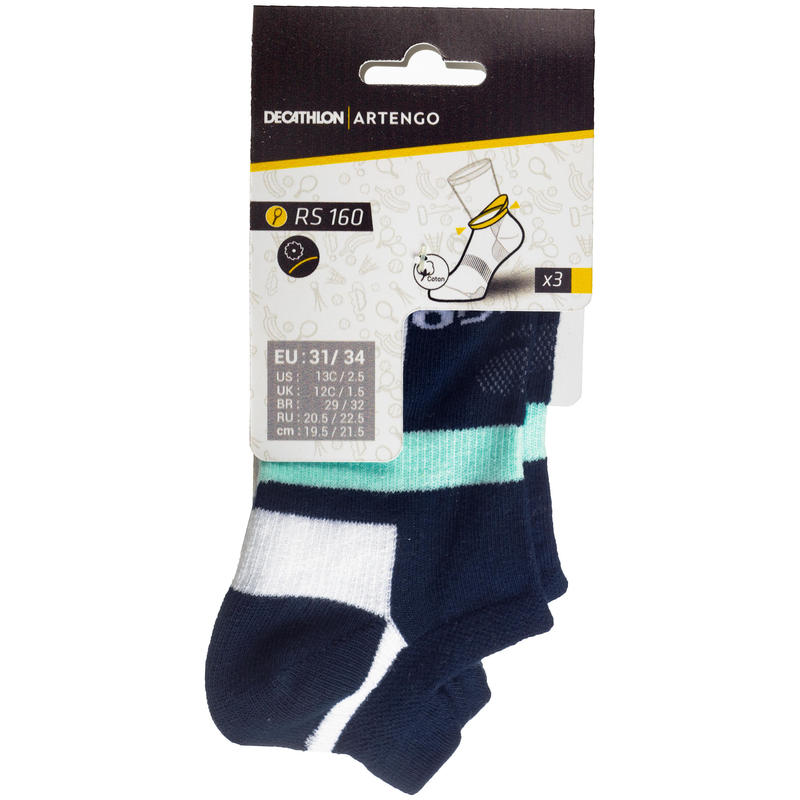 RS 160 Low-Cut Sports Socks Tri-Pack - Navy/White/Green