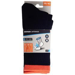 3雙入高筒運動襪RS 500-黑色/橘色
