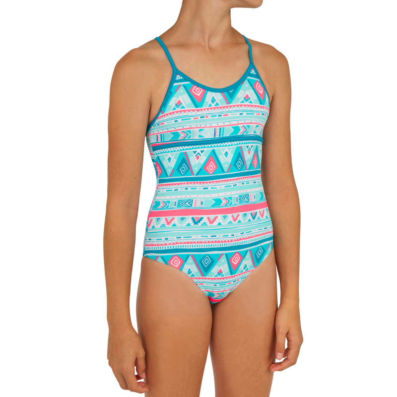 GIRL'S SWIMSUITS Surf - Haloa Girls' 1P - Geo Blue OLAIAN - Surf Clothing