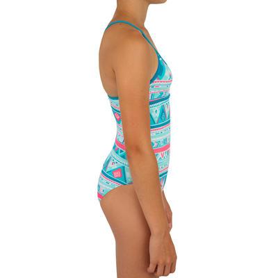 Haloa Girls' One-Piece Cross Back Swimsuit - Geo Blue
