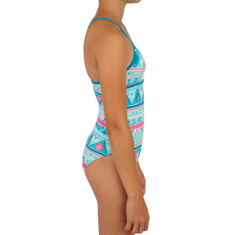 Traje de baño de 1 pieza para niña con espalda cruzada HALOA GEO azul