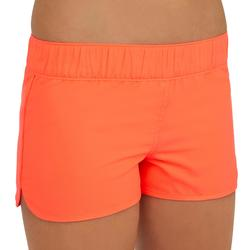 Kina Girls' Short Boardshorts with Elasticated Waistband - Neon Coral