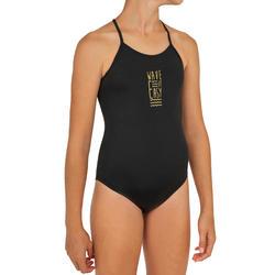 Hanalei Girls' One-Piece Surfing Swimsuit - Wave It Easy Black
