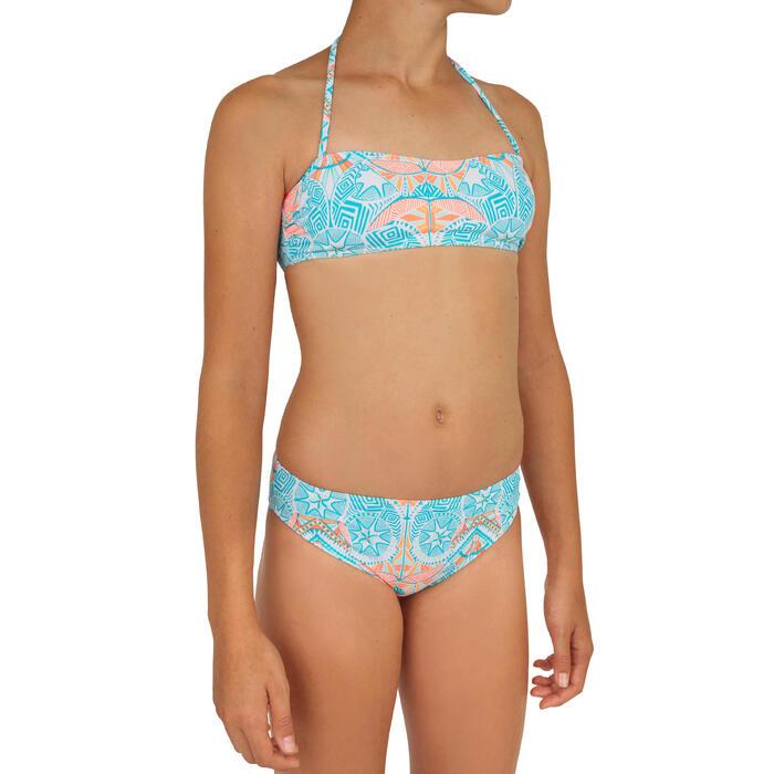 Meisjesbikini bandeau voor surfen Liloo Maoria wit en blauw