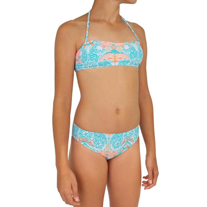 Girl's two-piece surfing bandeau swimsuit. LILOO MAORIA WHITE AND BLUE