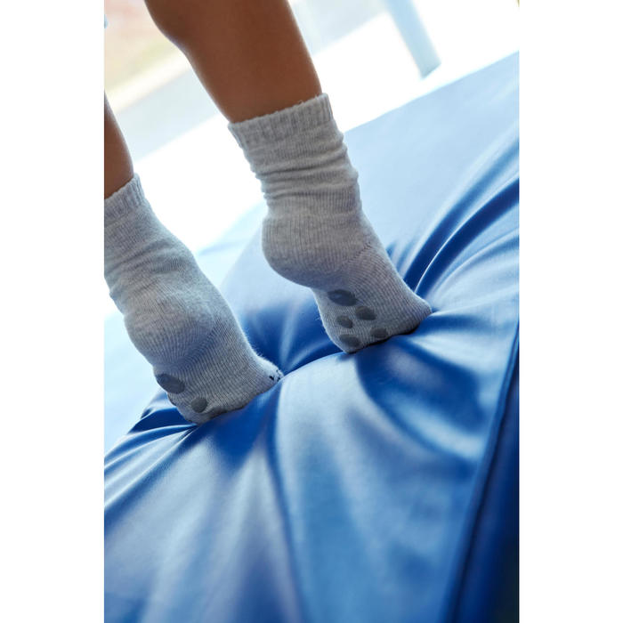 Antislip sokken 500 voor gym, set van 2 paar roze/gemêleerd grijs