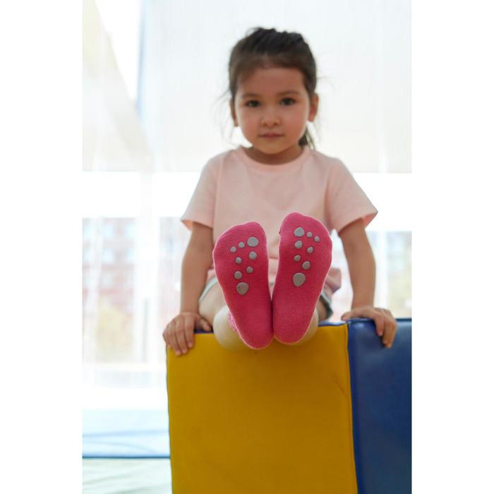 Turnsocken rutschfest 500 Baby 2-er-Pack rosa/grau meliert