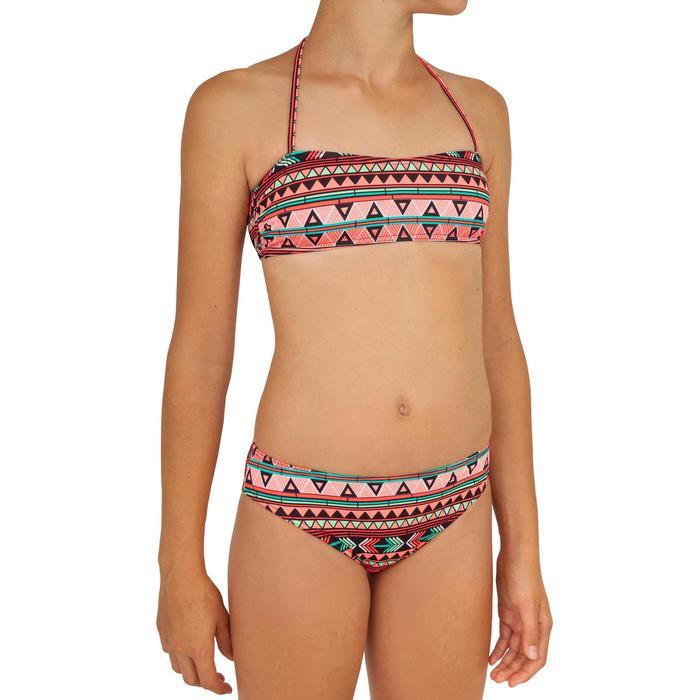 Bikini de niña para surf con parte superior tipo banda LILOO SAMOA ROSA CORAL