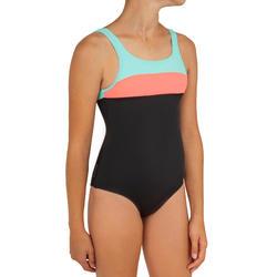 Badeanzug Holoo Surfen Mädchen schwarz/koralle
