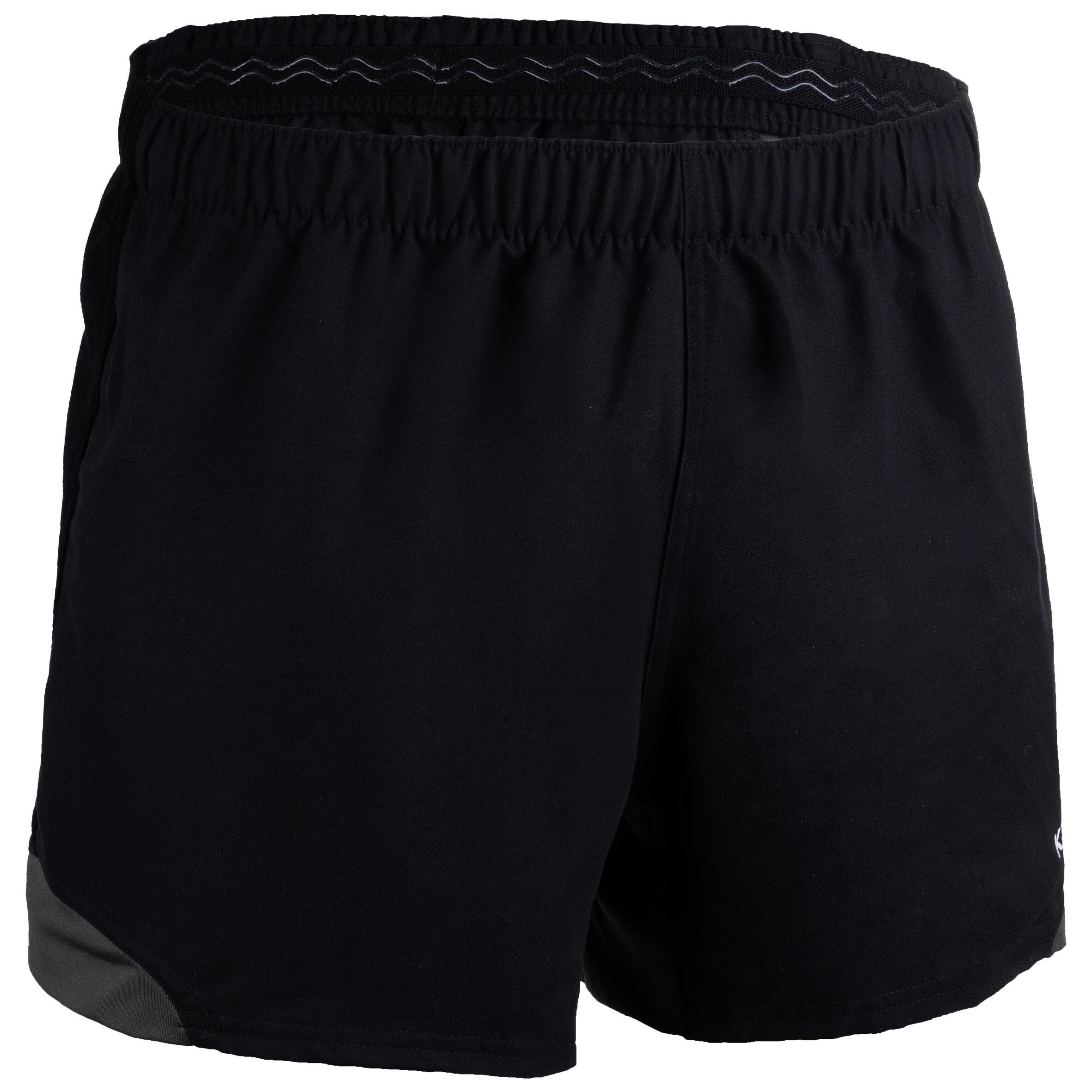 Rugbyshorts R900 Erwachsene schwarz/grau | Sportbekleidung > Sporthosen > Sportshorts | Offload