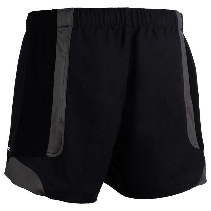 Rugbyshort voor heren R900 zwart grijs