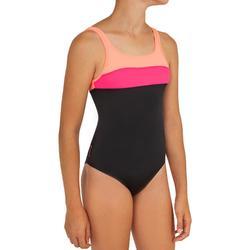 Meisjesbadpak voor surfen Holoo zwart en fluoroze