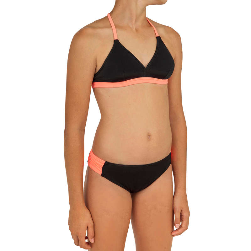 GIRL'S SWIMSUITS Surf - BETTY PAD BLACK AND NEON OLAIAN - Surf Clothing