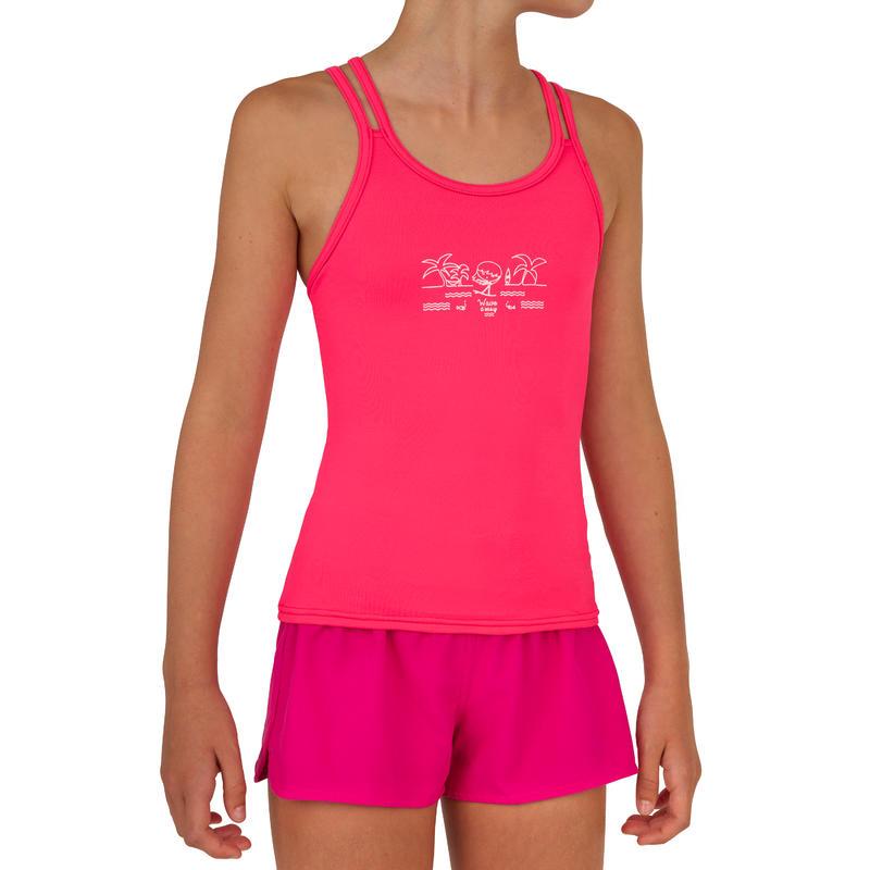 Kina Girls' Short Boardshorts with Elasticated Waistband - Pink