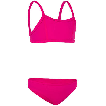 Girls' Two-Piece Crop Top Swimsuit - Bali Pink