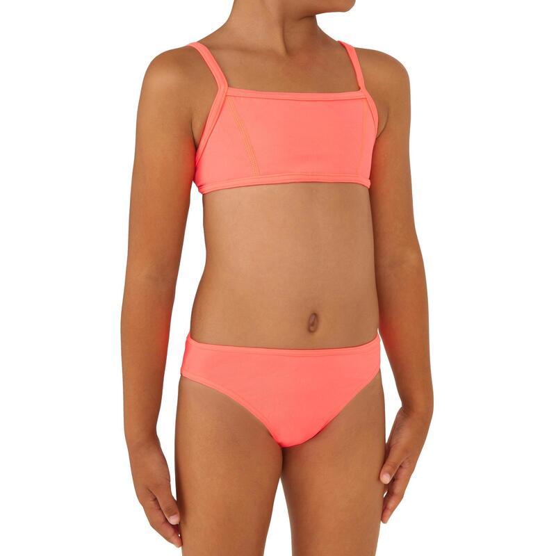 GIRLS' two-piece SURFING swimsuit BIKINI TOP BALI 100 - PINK